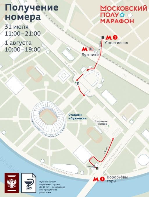 Схема прохода к стартовому городку на Московский полумарафон стартовый номер